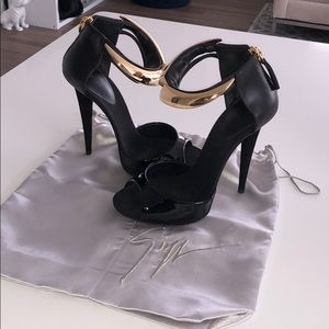 Giuseppe Zanotti black and gold ankle strap heels